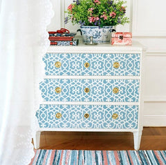 learn how to stencil with Moroccan furniture stencils