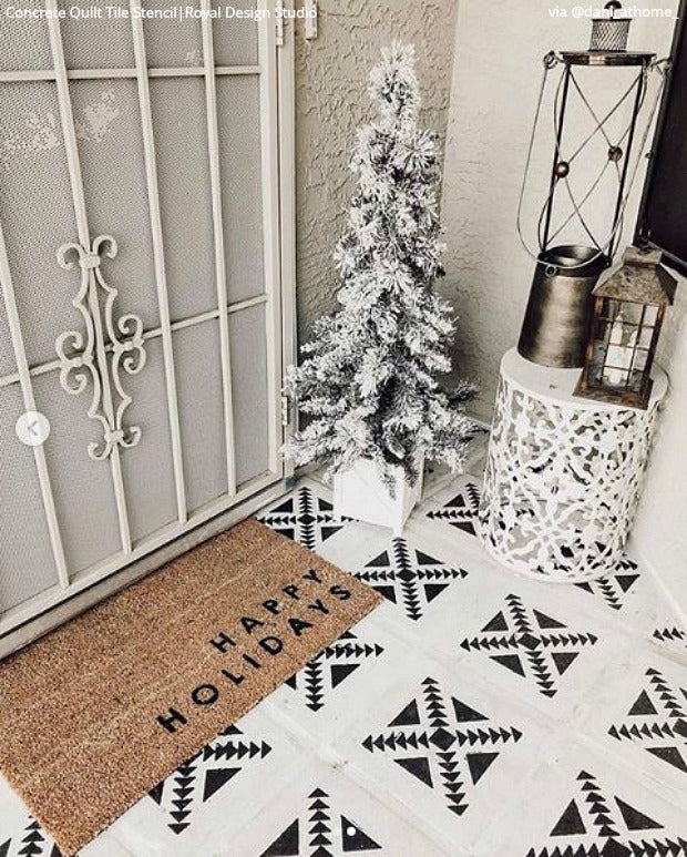 Deck the Halls this Christmas with Stencils from Royal Design Studio - Wall Stencils for Painting, Painted Floor Stencils, DIY Christmas Decor, Holiday Decorations