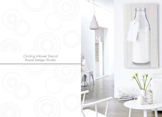 White on white decorating with the Circling Allover stencil from Royal Design Studio