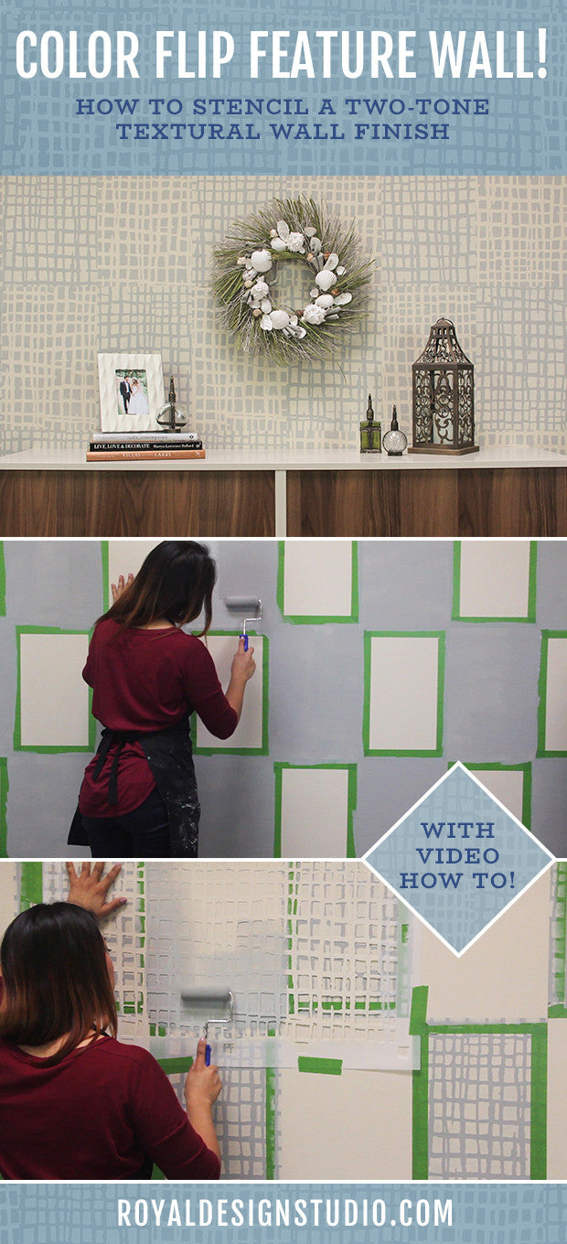 Color Flip Feature Wall! VIDEO TUTORIAL: How to Paint a Two-Tone Color Mural with Texture Wall Stencils