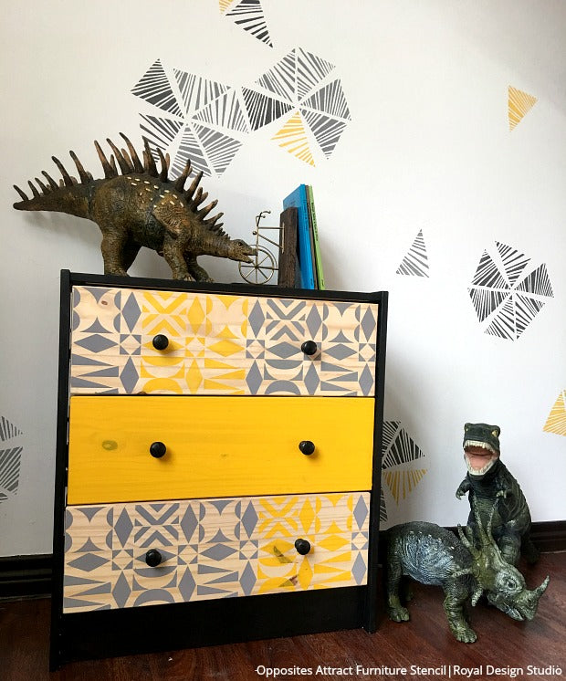 Mid Century Modern Kids Bedroom Ideas: Ikea Hack! How To Stencil A Modern Mid Century Dresser For