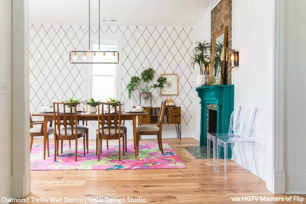 Royal Design Studio Wall Stencils on HGTV Masters of Flip with Dave & Kortney Wilson!