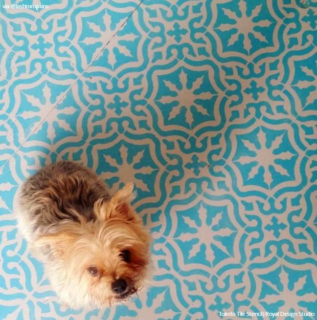 Don't Refinish or Remodel! Paint Your Hardwood Floors with Stencils - 11 Wood Floor Makeover Ideas using Royal Design Studio Floor Stencils
