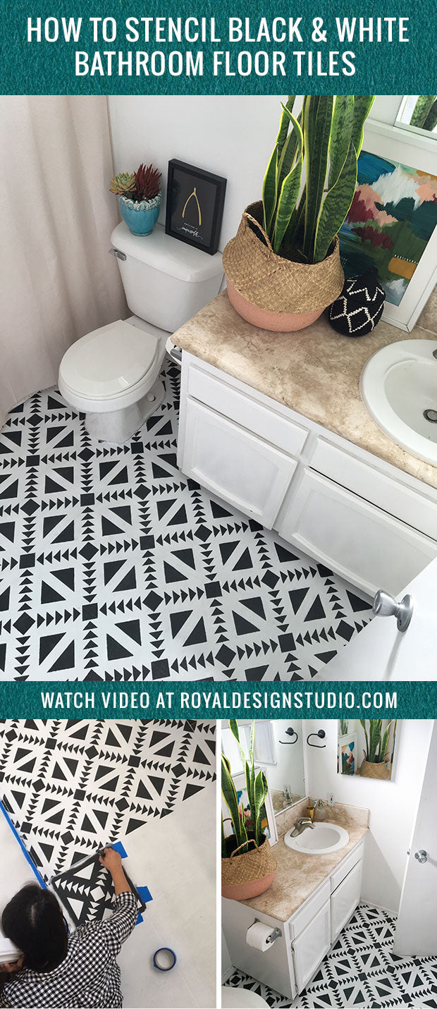 How To Stencil Black White Bathroom Floor Tiles Diy Decor Project