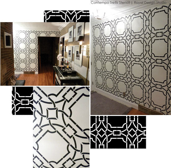 Stenciled foyer with Contempo Trellis Stencil from Royal Design Studio