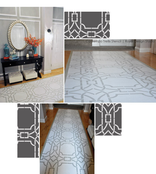 Floor stencil ideas with Royal Design Studio's Contempo Trellis Stencil
