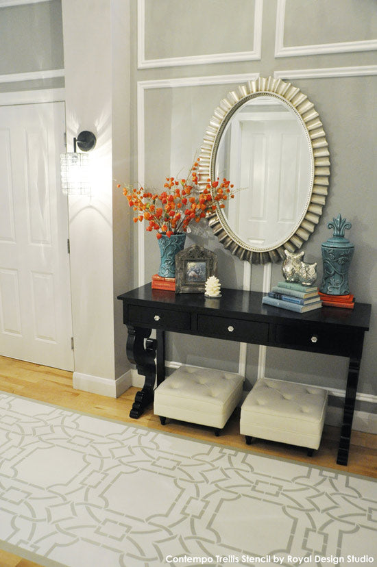 Contempo Trellis Stencil from Royal Design Studio on Wood Floor by All Things Thrifty | Painted and Stenciled Wood Floor