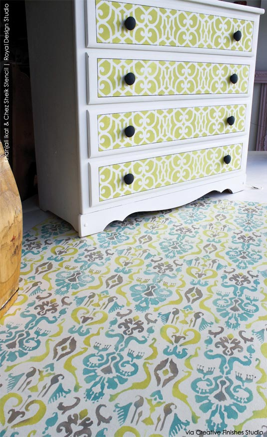 Furniture and floor stencil ideas with bright color