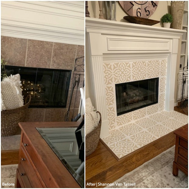 Sizzling Style: Stencils for Painting Fireplace Tiles - Custom Fireplace Tile Designs - DIY Fireplace Surround Decor with Paint Stencils- Royal Design Studio Tile Stencils royaldesignstudio.com