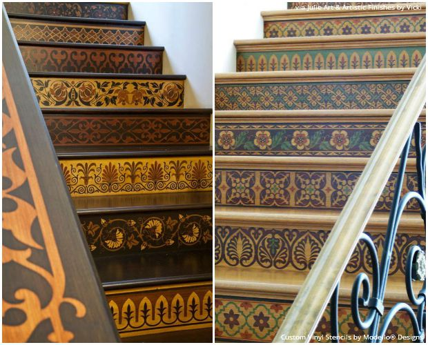 Stenciled Stairs 14 Diy Ideas Using The Hottest Home