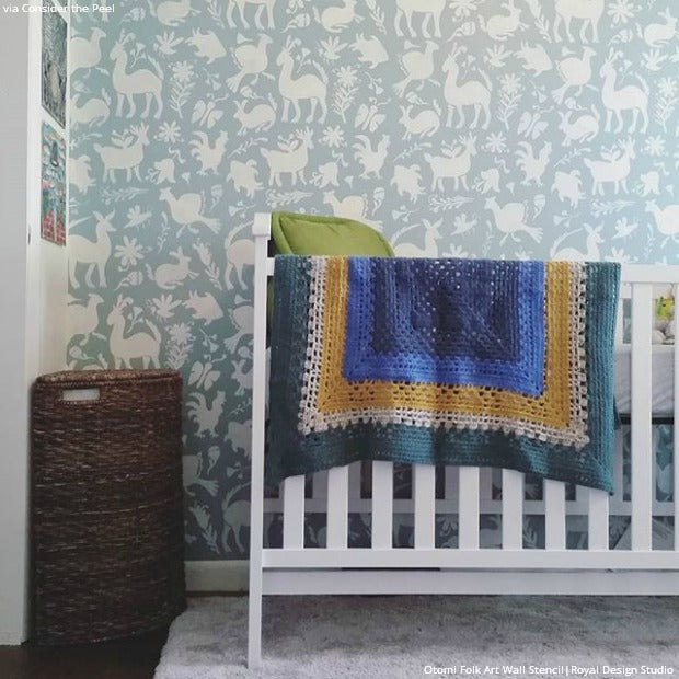 6 DIY Decorating Ideas with Colorful Otomi Pattern Stencils from Royal Design Studio