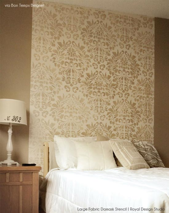 Damask Stenciled Wall | Royal Design Studio Stencils | Project by Bon Temps Beignet