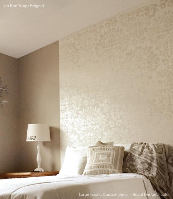 Guest Bedroom Stenciled Wall | Royal Design Studio Stencils | Project by Bon Temps Beignet