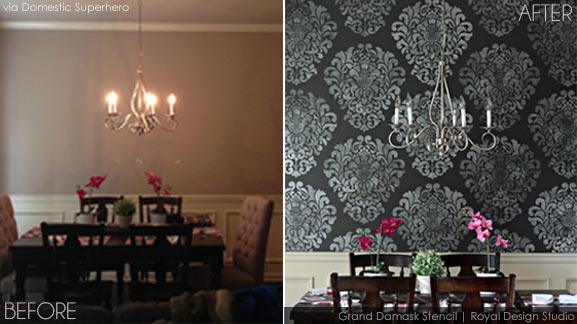 Before and After Dining Room Stencil Makeover