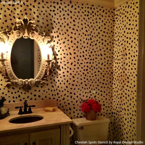 pink leopard print wallpaper for bedroom designer cheetah spots wall stencils animal print 20766