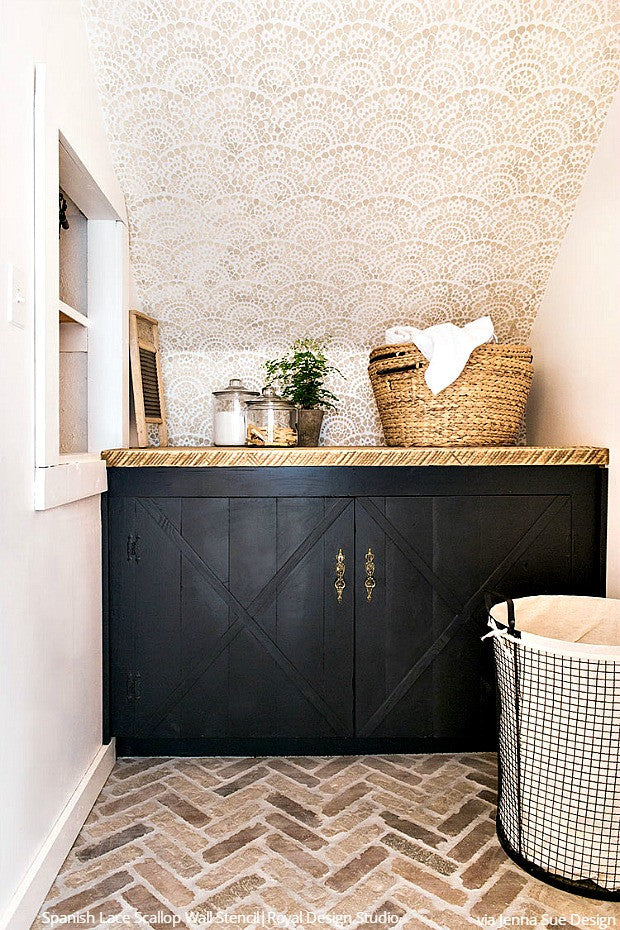 Beautiful DIY Laundry Room Makeovers with Stencils - Royal Design Studio