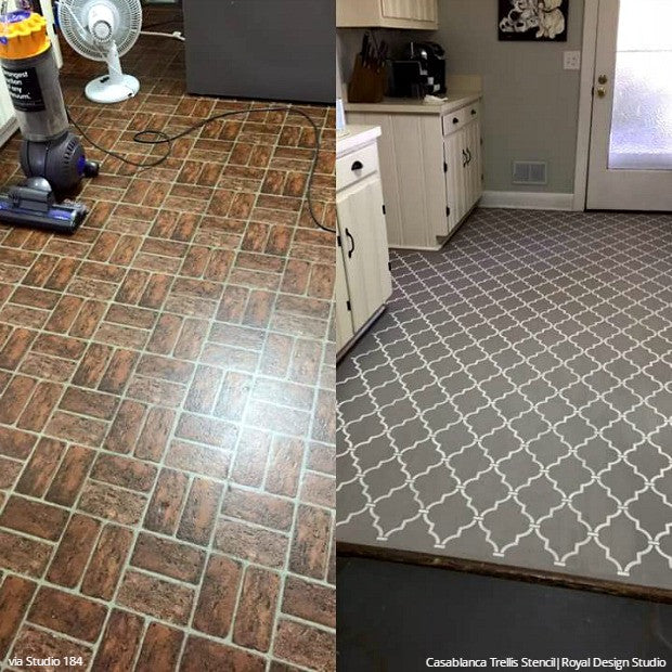 YES You CAN Paint Vinyl U0026 Linoleum Floors With Stencils! Check Out These 8  DIY