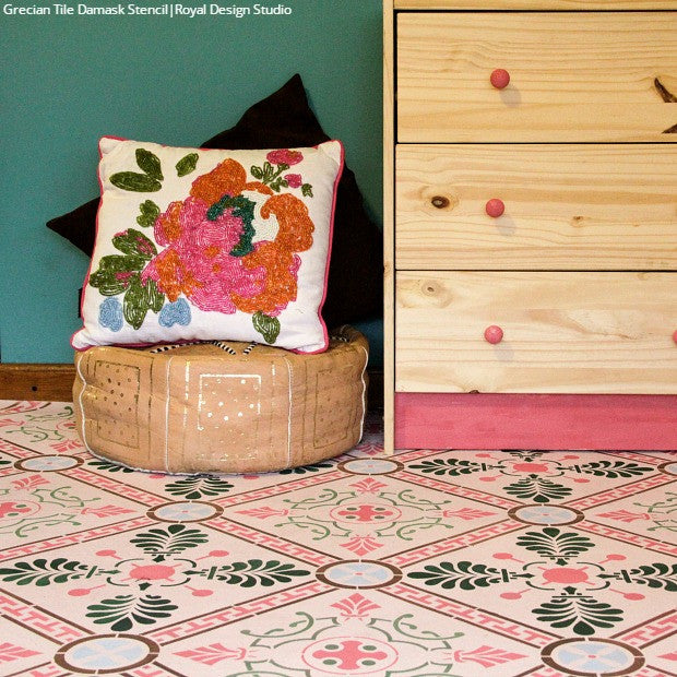 Solution to Vinyl Flooring! VIDEO Tutorial: How to Paint with Large Tile Floor Stencils - Royal Design Studio
