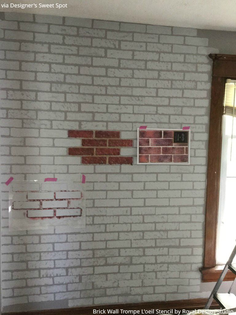The Secret to a Faux Brick Wall: Wall Mural Stencils - Royal Design Studio Stencil Tutorial