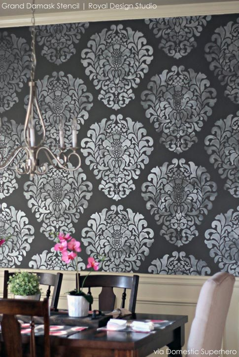Stenciled Dramatic Dining Room Feature Wall