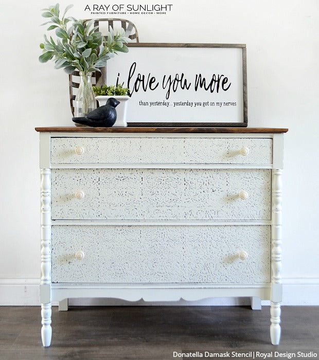 Raise Your Style to New Heights with Stencil Embossing - 10 DIY Home Decorating Ideas using Wall Stencils, Furniture Stencils, and Joint Compound Plaster