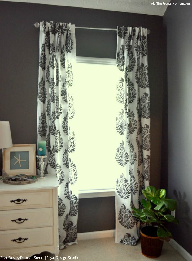 How to Stencil Tutorial: DIY Fabric Damask Designer Curtains for Less - Royal Design Studio