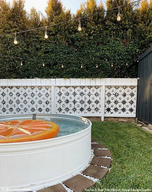 DIY Backyard Bliss: Renovate on a Dime with Wood Fence Paint Stencils from Royal Design Studio - royaldesignstudio.com
