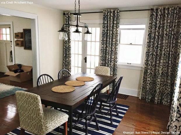 16 DIY Home Decorating Ideas using Trendy Ikat Pattern Stencils - Royal Design Studio