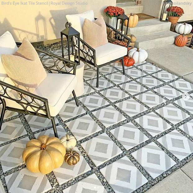 DIY Backyard Bliss: Renovate on a Dime with Tile Floor Paint Stencils from Royal Design Studio - royaldesignstudio.com