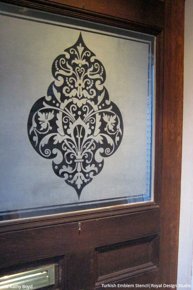 Diy Privacy Screens Made Pretty With Stencils Paint Etched Glass