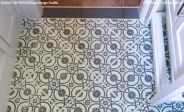 Stencil And Save Upcycling Old Bathroom Tiles With Stencils Diy Idea