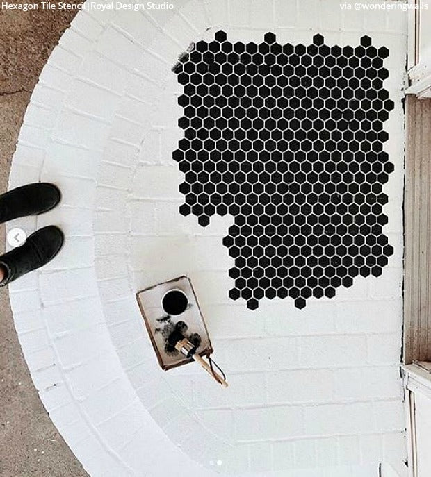 Penny for Your Thoughts: Hexagon Floor Tile Stencils - Easy DIY Decor Ideas for Painting Floor Tiles - royaldesignstudio.com