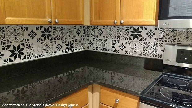 12 Stunning Ideas For Painting A DIY Kitchen Backsplash Design With Wall  Stencils   Royal Design
