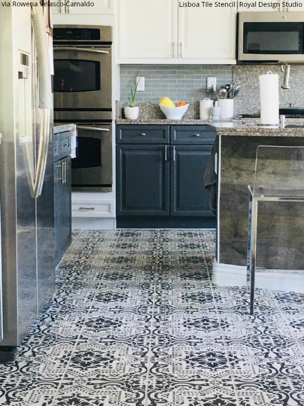 Insanely Gorgeous Kitchens with Tile Floor Stencils - DIY ...