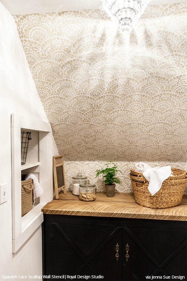 Lace Wall Stencils For A Farmhouse Cottage Style Laundry