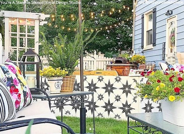 DIY Backyard Bliss: Renovate on a Dime with Furniture Paint Stencils from Royal Design Studio - royaldesignstudio.com
