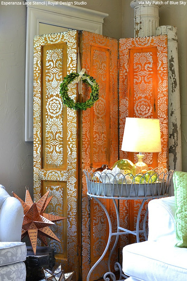 Privacy Screens Made Pretty with Stencils, Paint & Etched Glass - 7 DIY Decor Ideas using Royal Design Studio Glass Stencils