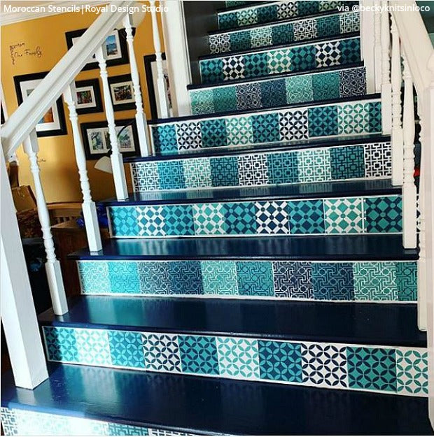 Paint, Peel, & Stick Your Stairs with Stencil Designs - Paint Stencils for DIY Decor Projects - Royal Design Studio Stencils royaldesignstudio.com