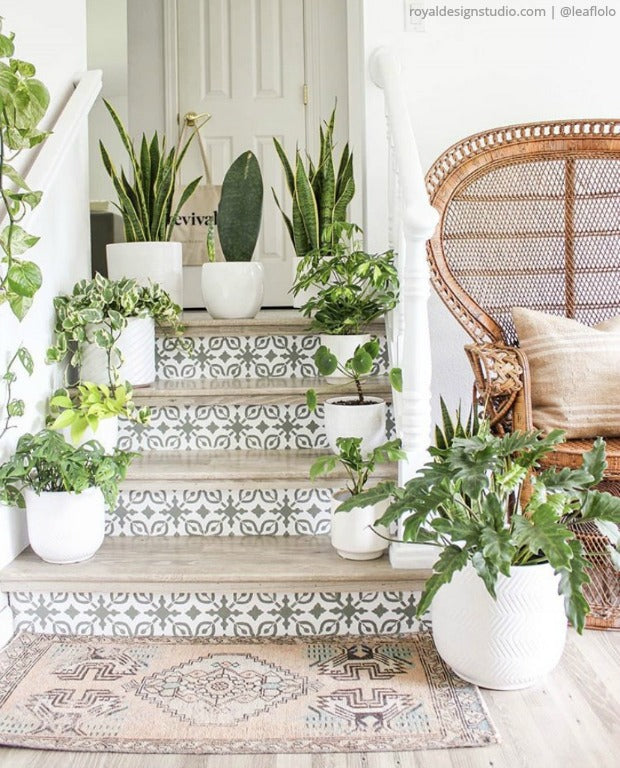 Do It Yourself: Painting Stairs and Stairwells with Stencils - Stair Stencils for DIY Stair Riser Designs - royaldesignstudio.com