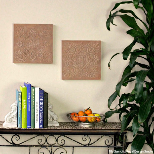 video tutorial how to stencil diy terracotta wall art with royal design studio tile stencils - Terracotta Wall Paint