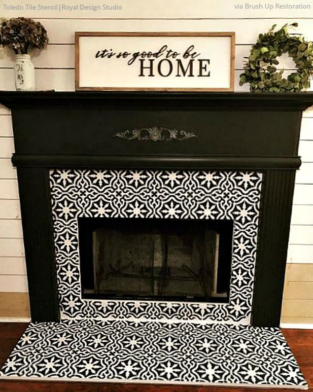 Sizzling Stencil Style Paint Your Fireplace Tiles