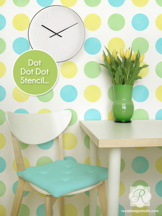 Multi-color polka dot pattern stencil for walls. Great modern look! | Royal Design Studio Stencils