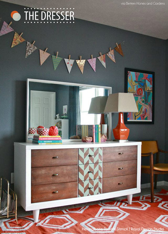 Stenciled Upcycled Dresser in Better Homes and Gardens