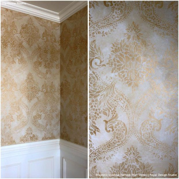 Gold wallpaper wall stencils diy ideas for metallic home for Gold wallpaper for walls