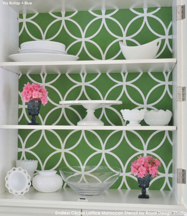 Stenciled Cabinet Back | Endless Circles Lattice from Royal Design Studio | Project by Linda Smith of Burlap + Blue