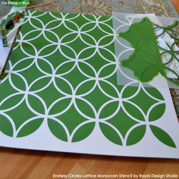 How to Stencil the Back of a Cabinet | Endless Circles Lattice Moroccan Stencil from Royal Design Studio
