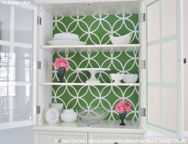 Endless Circles Lattice Stencil on Cabinet Back by Linda Smith of Burlap + Blue | Royal Design Studio