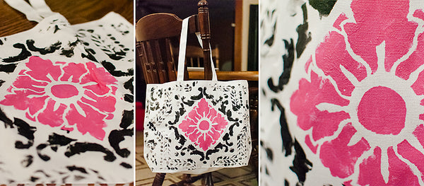 fabric stenciling on a tote bag
