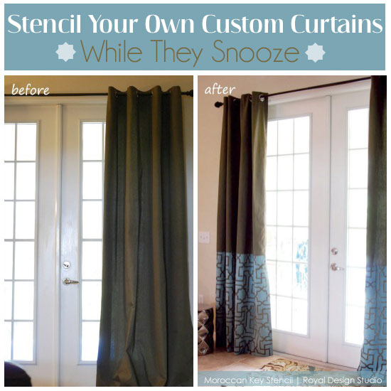 Cool custom stenciled curtains with the Moroccan Key stencil from Royal Design Studio stencils