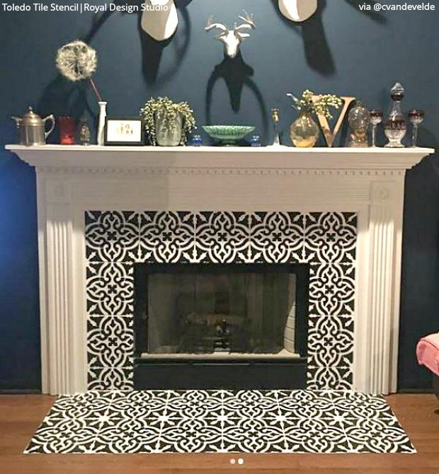 Prime Sizzling Stencil Style Paint Your Fireplace Tiles Download Free Architecture Designs Ferenbritishbridgeorg